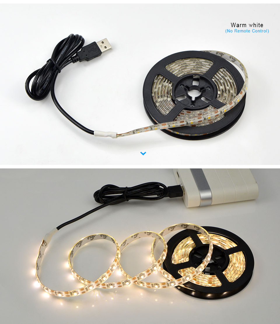 H25950ef2f14c4c958ee9da98441c2e50q 5V USB Powered LED Strip RGB TV backlight Neon lamp 50cm 1M 2M 3M 4M 5M Lamp Tape with IR control For LED Diode Ribbon Lighting
