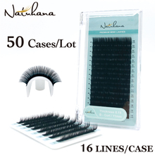 NATUHANA 50Cases/Lot 16Rows Handmade Faux Mink Lash Extension Korea Pbt Natural Soft Eyelashes Individual Extension Makeup Cilia