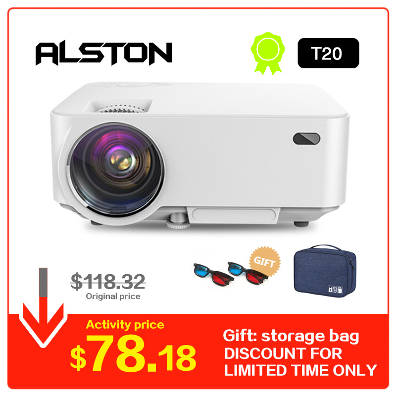 ALSTON Mini Projector T20 Smart Android System 4K HD LED Projector WiFi Bluetooth Home cinema Optional