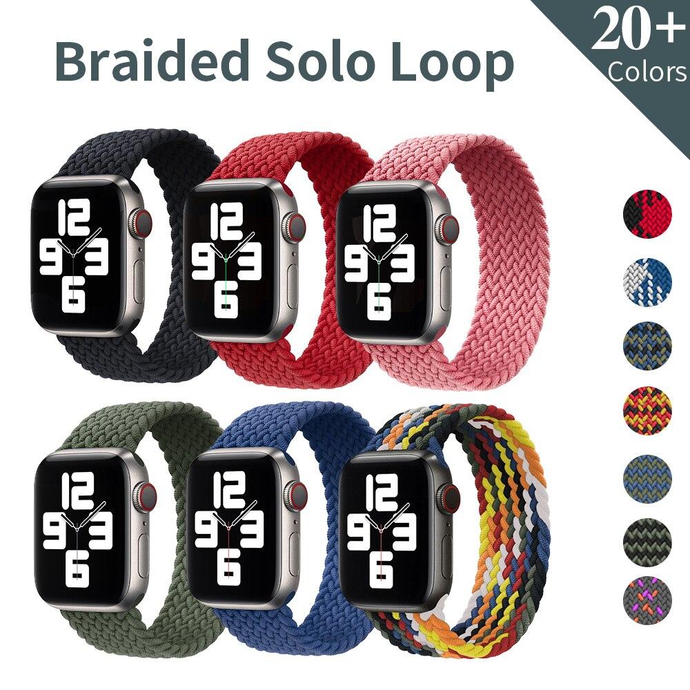 Плетеный нейлоновый ремешок для Apple Watch Band 44 мм 40 мм 38 мм 42 мм, эластичный тканевый браслет для iWatch Series 3 4 5 Se 6