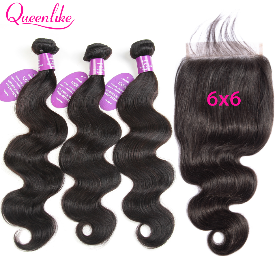 Peruvian Body Wave With 6X6 Closure Queenlike Hair 6x6 Lace Closure And Bundles Remy Human Hair Bundles With 6x6 Closure