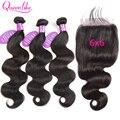 Перуанские волнистые человеческие волосы 6X6, Queenlike, 6х6, кружевные, закрывающие и пряди, пряди человеческих волос Remy с закрытием 6х6
