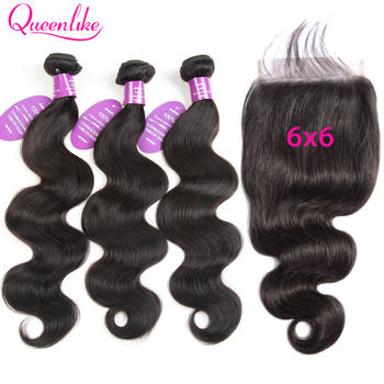 Peruvian Body Wave With 6X6 Closure Queenlike Hair 6x6 Lace Closure And Bundles Remy Human Hair Bundles With 6x6 Closure image