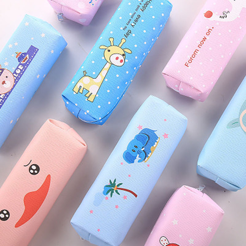 1pcs Pu Animal Pen Bag Novelty Stationery Pen Case Student Cute Pencil Case High Capacity Korean Bag Kawaii School Supplies