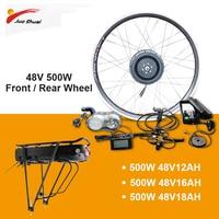 JS 48V500W Front Rear Motor Wheel ebike Kit with 48V18AH Rear Rack Battery for 26 700C(28) Wheel Electric Bicycle e bike Kit