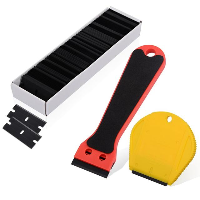 EHDIS 2pcs Carbon Fiber Vinyl Stickers Remover Razor Blade Scraper Car Cleaning Tool Glass Tint Windshield Wiper Clean Squeegees