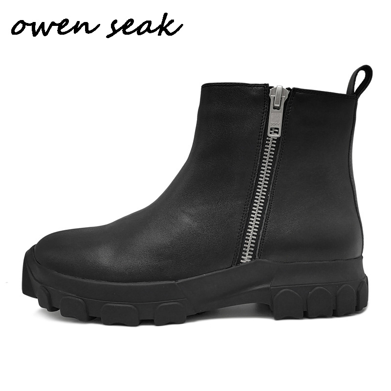 Owen Seak Men Boots Leather High-TOP Chelsea Boots Luxury Trainers Casual Snow Zip High Street Flats Winter Shoes