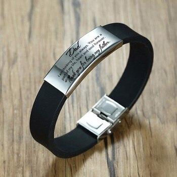 Vnox regalo del Día del Padre a papá correa de silicona blanda para hombres longitud ajustable Acero inoxidable ID Bar personalizar brazalete grabado