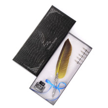 Simple Black Gift Box Feather Pen Office Sign Student Teacher Writing Set s Exquisite Stainless Steel Slip Writing Pen Head simple black gift box feather pen christmas gift personality birthday gift box student teacher europe and america stationery set