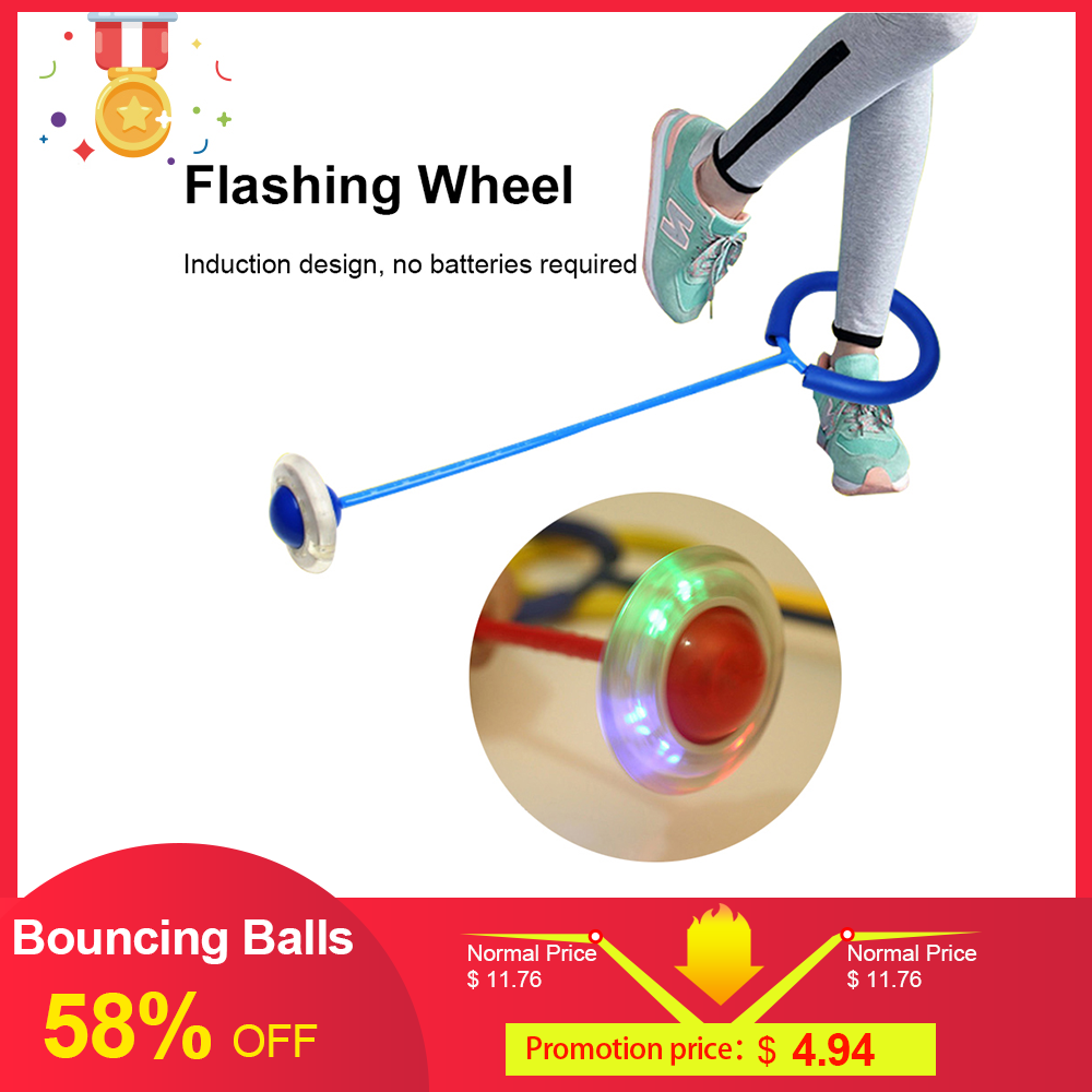 Bouncing Balls One Foot Aggressive Skates Skip Rope  Jump Ropes Children Fitness Playing Fun Entertainment Toys Flashing Roller