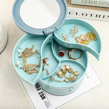 Jewelry Storage Box Multilayer Rotating Plastic Jewelry Stand Earrings Ring Box Cosmetics Beauty Container Organizer with Mirror