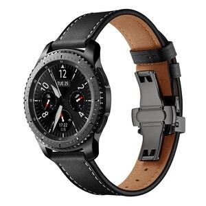 Image 2 - Italie bracelet en cuir pour samsung galaxy montre 46mm bracelet engrenage s3 bracelet 22mm bracelet Huawei montre gt bracelet papillon boucle 46