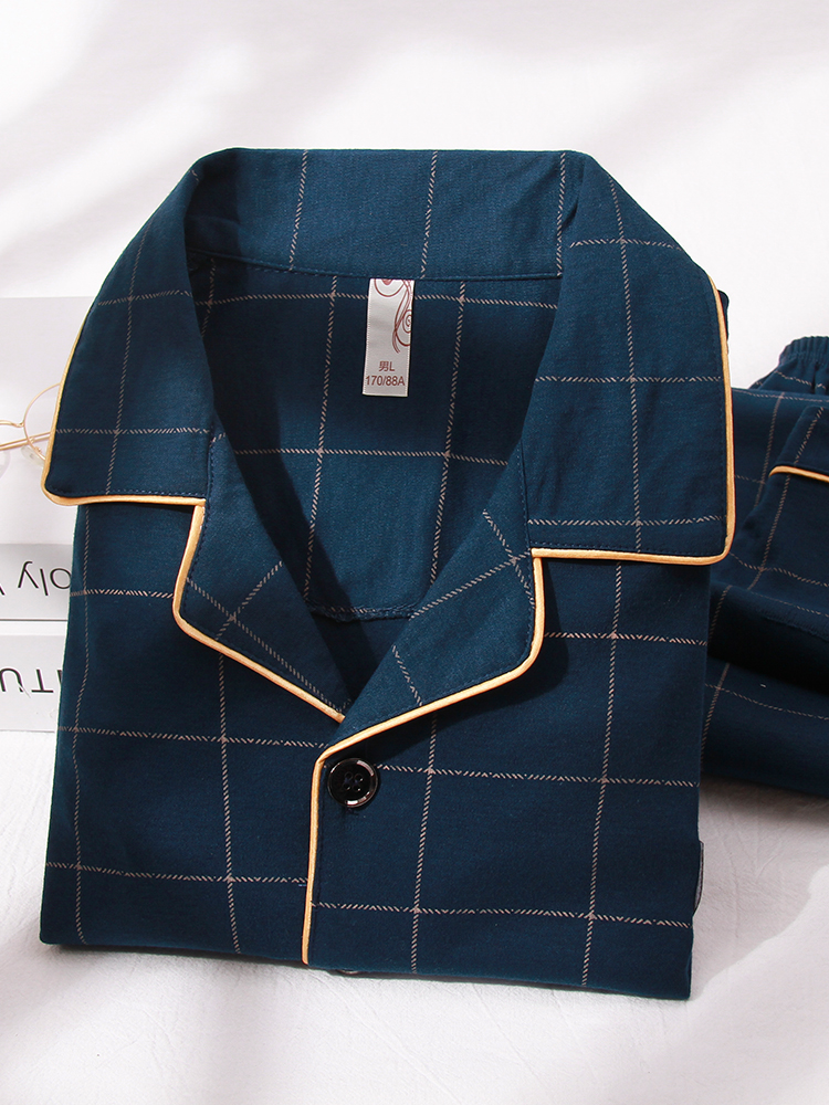 Pajamas Men Sleepwear Lounge Home-Clothes Plaid Warm Blue Hombre Winter Man's PJ No Cotton