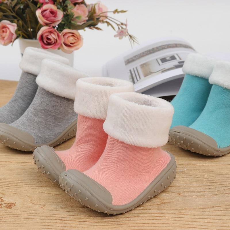 Winter Baby Socks Baby Socks With Rubber Soles Toddler Indoor Steps Anti-slip Leather Kids Floor Socks