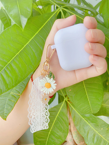 Image 5 - Luxury Cute Korean Flower Decoration Case for Apple Airpods Case ornament Accessories Bluetooth Earphone Silicone Cover Key Ring
