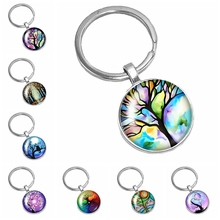 HOT! 2020 New Handmade Oil Painting Colorful Life Tree Series Glass Convex Fashion Keychain Popular Jewelry Gift