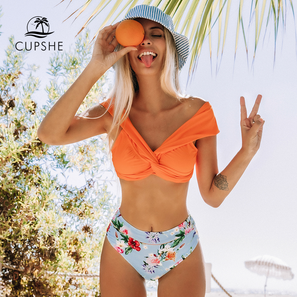 CUPSHE Orange Floral Twist High-Waisted Bikini Sets Sexy Off Shoulder Swimsuit Two Pieces Swimwear Women 2020 Beach Bathing Suit