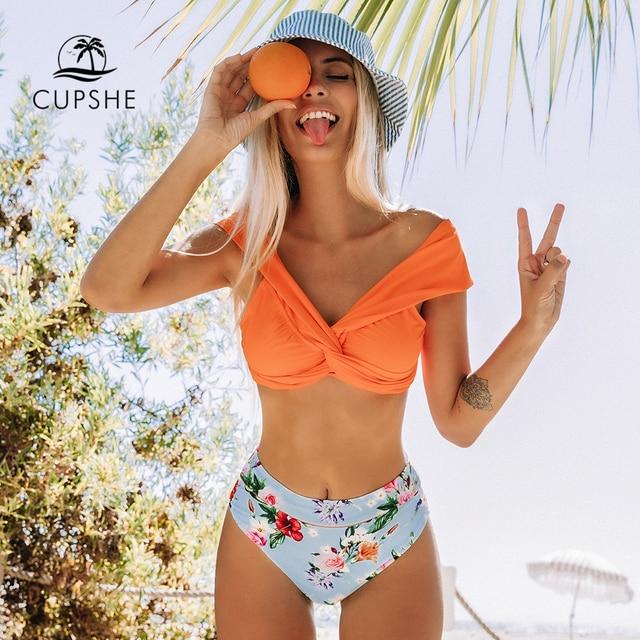 CUPSHE Orange Floral Twist High Waisted Bikini Sets Sexy Off Shoulder Swimsuit Two Pieces Swimwear Women 2020 Beach Bathing Suit