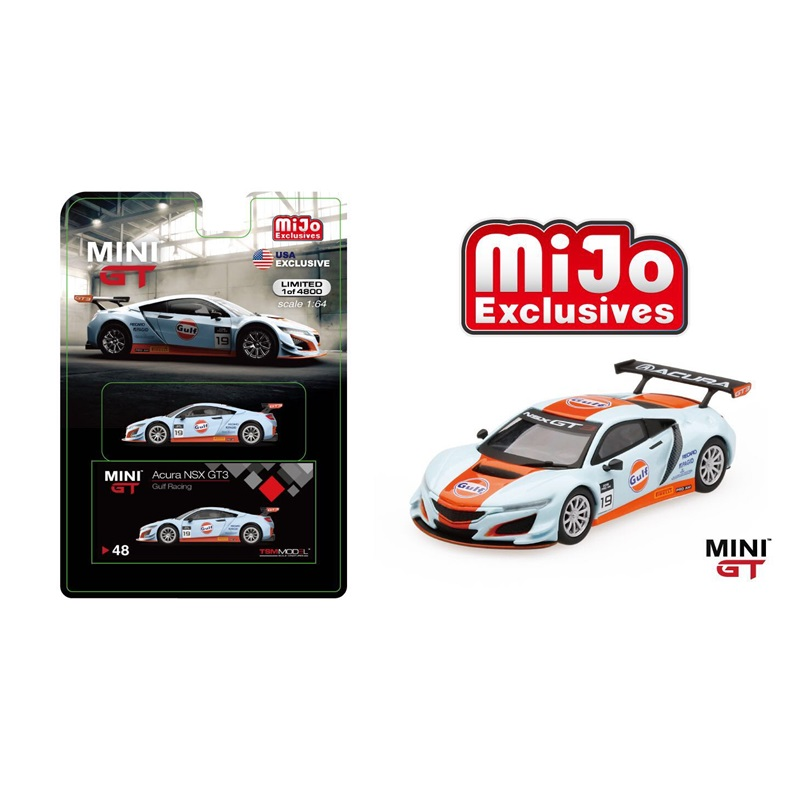 Mini GT 1:64 LB Works Honda Acura NSX GT3 Gulf Mijo USA Exclusive LHD Diecast Model Car