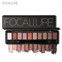 FOCALLURE 10 colors pigmented eyeshadow palette easy to wear professional Glitter eyeshadow pallete beauty makeup shadows(China)