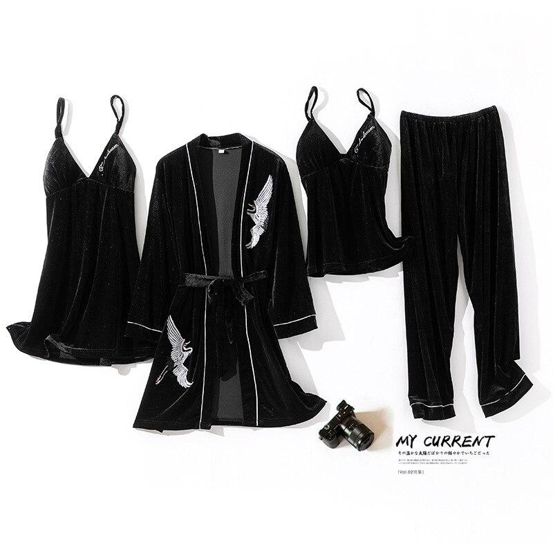 Sexy Pajamas Suit Velour 4PCS Sleepwear Women Autumn New Kimono Gown Bathrobe Embroidery Nightgown Home Clothes Nightwear