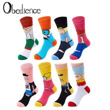 Personality cute Anime socks Fashion Cartoon happy Men women Sock novelty Stitching pattern cotton crew skarpety sox