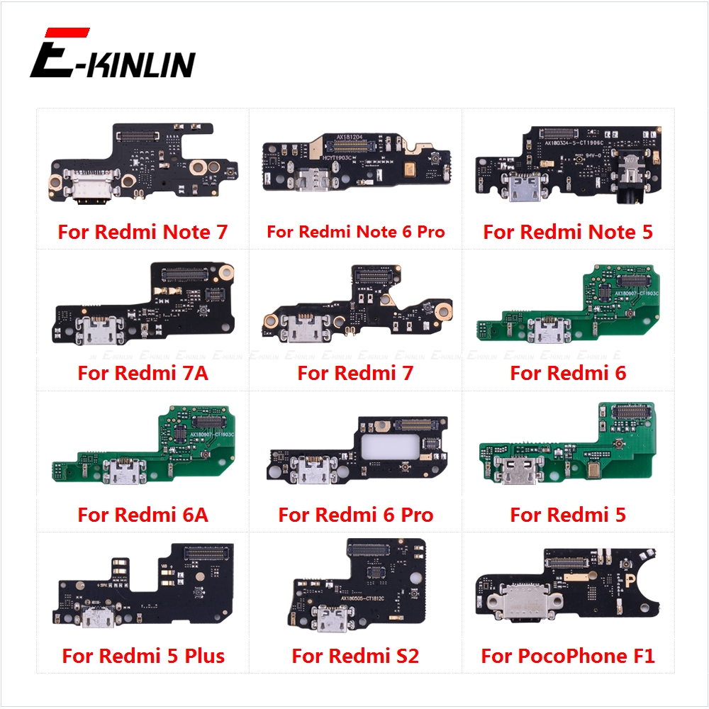 Charging Port Connector Board Parts Flex Cable With Microphone Mic For XiaoMi PocoPhone F1 Redmi Note 7 <font><b>6</b></font> <font><b>5</b></font> Pro Plus 7A 6A S2 image