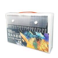 100 цветные акварельные маркеры для рисования, набор для рисования, Профессиональный набор кистей для рисования, двойной наконечник, школьны...