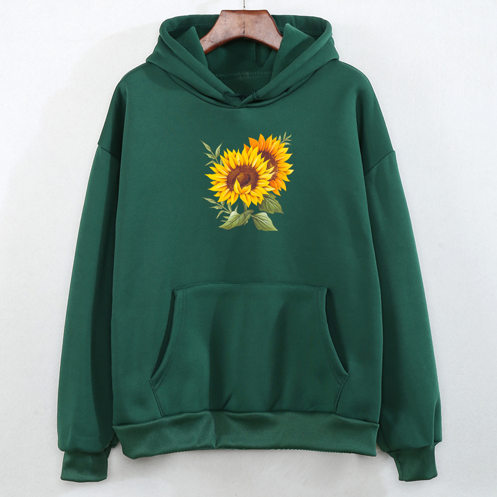 Aesthetic Hoodies Elegant Sweatshirts Ladies Pullover Feminino Winter Colorful Fashion Casual Tracksuit Young Sunflower Printing