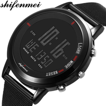 Shifenmei Watches Mens 2020 LED Digital Clock Waterproof Sport Watches Outdoor Men Military Watch Mens Wrist Watches Male Gifts cheap Alloy 22cm 3Bar Fashion Casual Buckle ROUND 22mm 11mm Glass Back Light LED display Repeater Chronograph Water Resistant