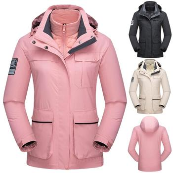 Winter Women two-piece down liner detachable Thermal Ski Jacket Outdoor Sport Hiking Skiing Snowboard Windproof Warm 3 in 1Coats hot sale women s winter thick inner fleece jacket outdoor ski snowboard sport coat hiking skiing camping e warm female clothes
