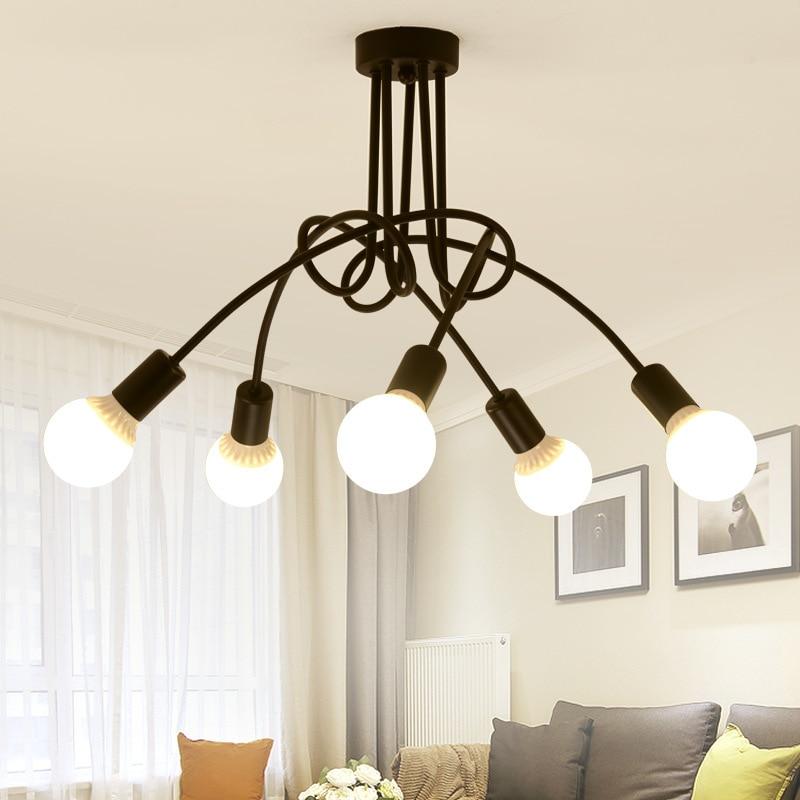 Iron LED Chandelier E27 Living Room Bedroom Indoor Lighting Decoration Chandelier Light Restaurant Kitchen Chandeliers Fixtures