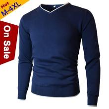 MuLS хлопковые свитера для мужчин с v-образным вырезом мужской свитер Пуловеры Джерси джемпер осень зима 4XL трикотаж Мужская одежда Новинка
