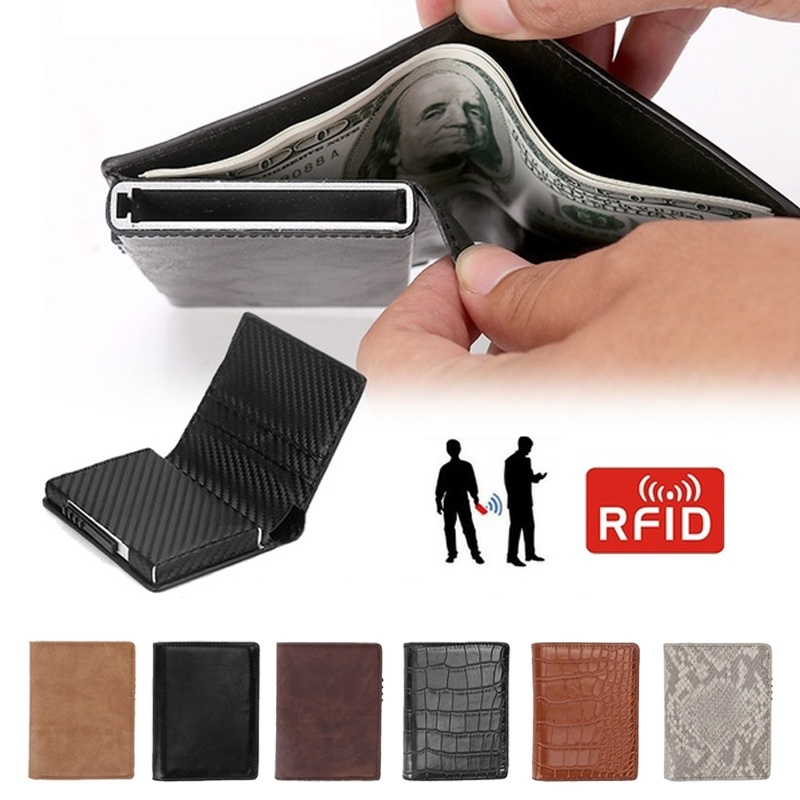 Leather Men Aluminum Wallet Back Pocket ID Card Holder RFID Blocking Mini Magic Wallet Automatic Credit Card Coin Purse