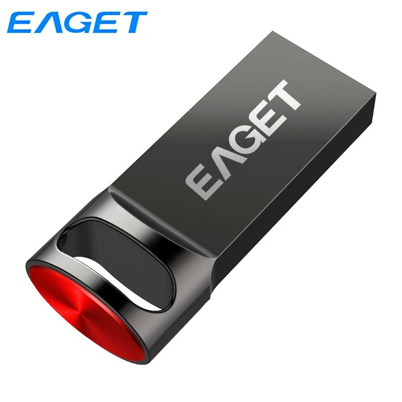 Eaget USB 3.0 Flash Drive 128GB 64G 32G 16GB Pendrive de Alta Velocidade Pen Drive À Prova D Água Com Anel Chave Loop U81 Capless USB Memoria