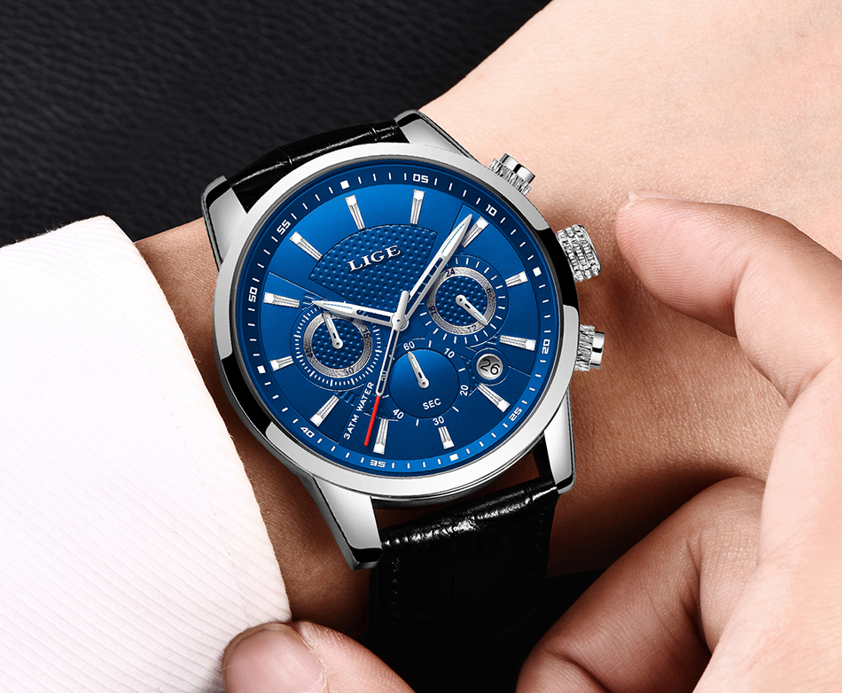 H25965f25a643497292548b3e46bc7423N LIGE New Men Watch Top Brand Blue Leather Chronograph Waterproof Sport Automatic Date Quartz Watches For Mens Relogio Masculino