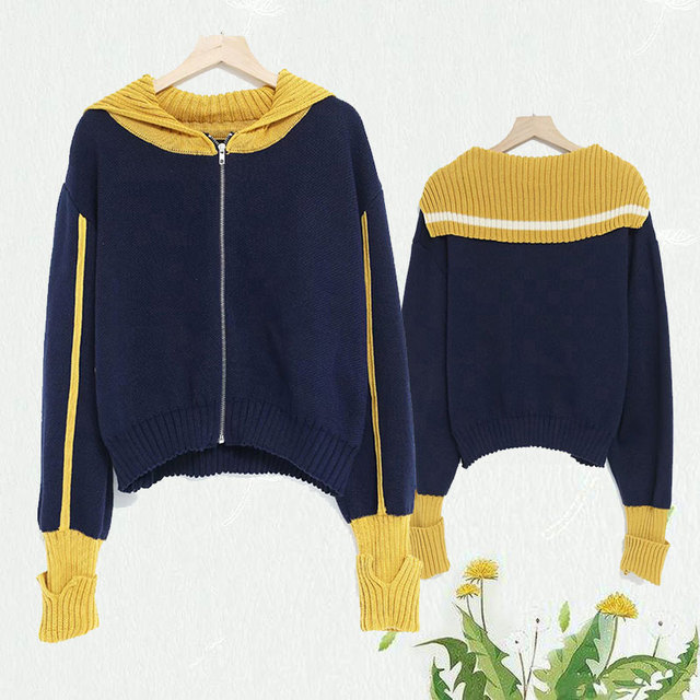 Autumn patchwork blue yellow Hoodie women hooded long sleeve jumpers knit streetwear zipper Pullovers