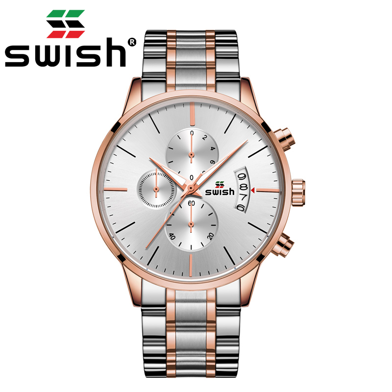 SWISH Men's Luxury Watch Brand Stainless Steel Military Quartz Watches Calendar Sports Chronograph Wristwatch Montre Homme 2020