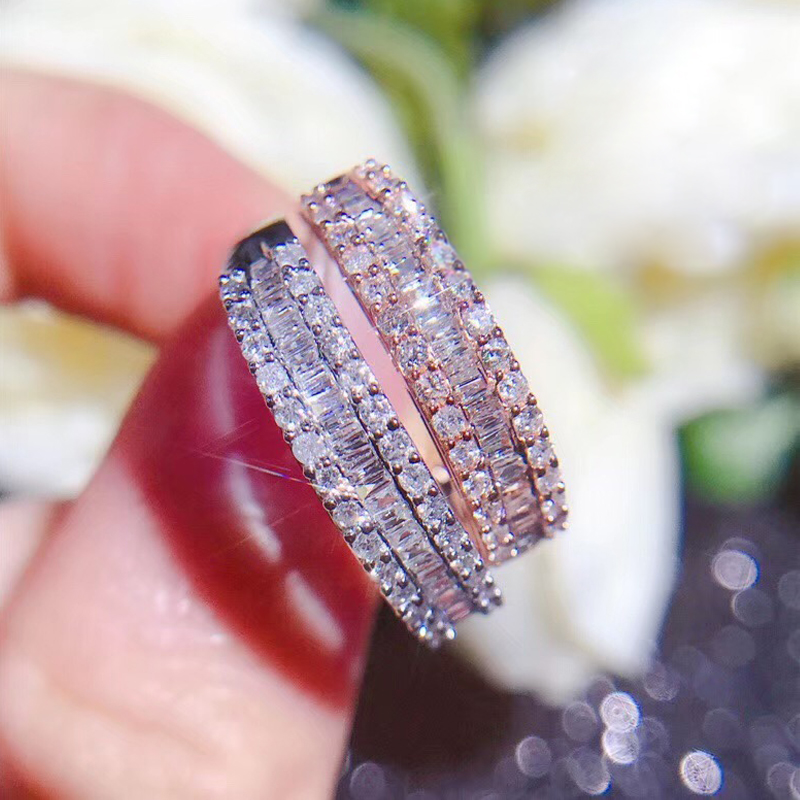 Band-Ring Wedding-Engagement-Ring Diamond AEAW White Gold Full-Eternity Solid 18K 3-Rows