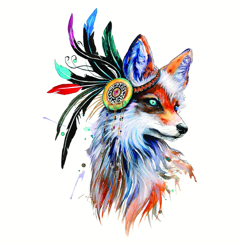 Cute Wolf Feather Decoration Patches For Clothing Easy Printing Appliques By Heat Transfer Stickers