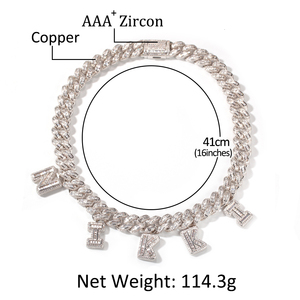 Image 3 - 13mm Bagnette Zircon MiamiCuban Link Necklace Gold silver color Plated Luxury Copper Micro Paved CZ Cuban Joining together Chain