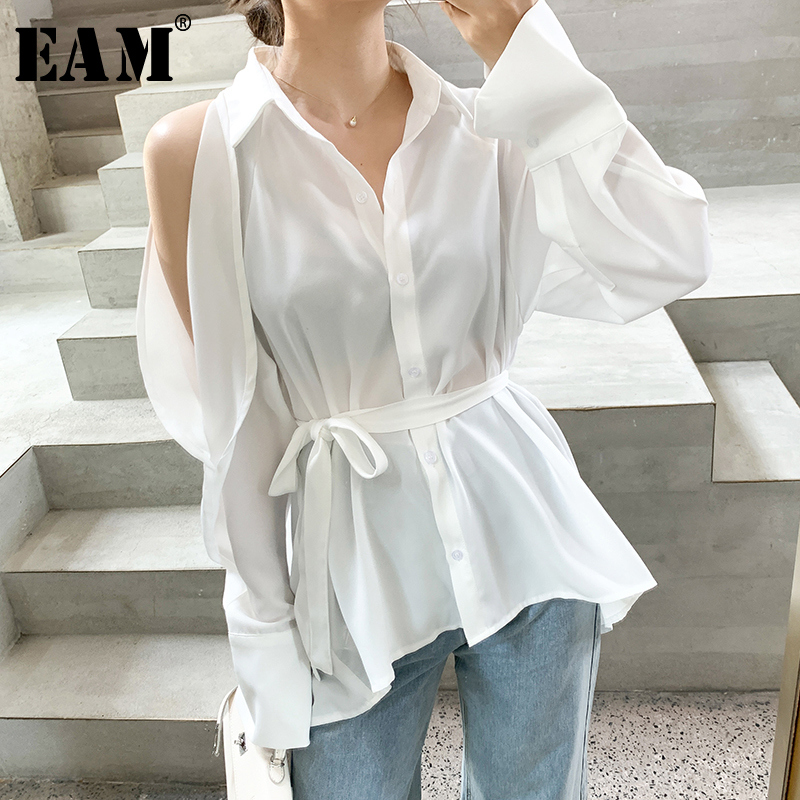 [EAM] Women White Hollow Out Rufflestemperament Blouse New Lapel Long Sleeve Loose Fit Shirt Fashion Spring Autumn 2020 1T487