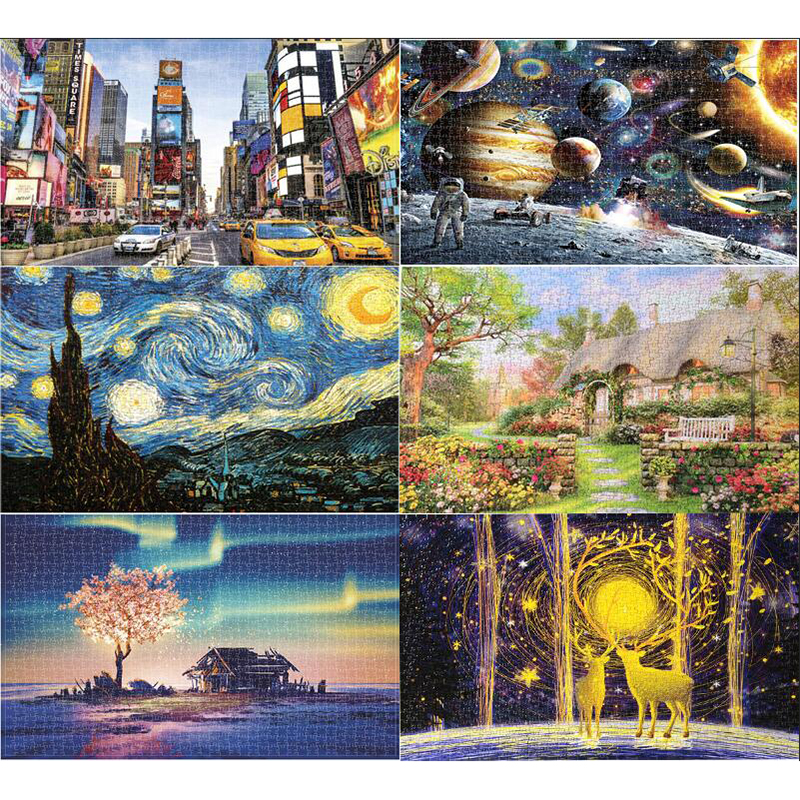 Mini Jigsaw Picture Puzzles 1000 Pieces Landscape Puzzle Educational Toys For Adults Children Kids Games Toys Gifts