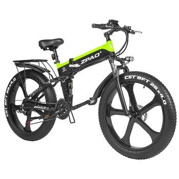 ZPAO-Bicicleta eléctrica de montaña para Adulto, EBike plegable de 1000W, EBike electrónica