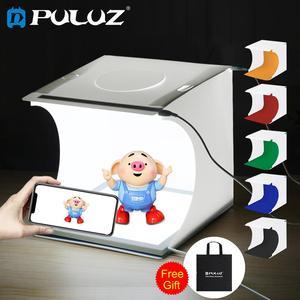 Image 1 - PULUZ Luz LED Mini 22,5 para fotografía, sin sombras, cojín de Panel + 2 paneles LED, caja de luz de 20CM para tienda de estudio fotográfico