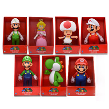 7 Styles Hot Toys 22cm Super Mario Bros Figure Yoshi Peach Princess Toad PVC Action Figure Gift For Children Mario Luigi цена 2017