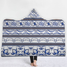 New Chinese Hooded Blanket Blue And White Porcelain Pattern Printed Plush For Adults Kids Soft Fleece Blanket Wearable Blanket недорого