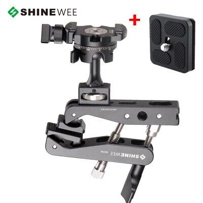 """Многофункциональный пружинный зажим, держатель, крепление для вспышки, шаровая Головка, стандартный винт 1/"""" для SLR цифровых зеркальных видеокамер - Цвет: Серебристый"""
