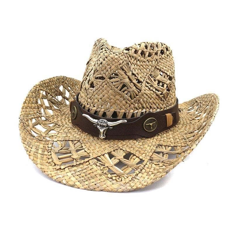 Fibonacci 2022 New Fashion Summer Sun Cowboy Hat Hand-crafted Panama Beach Wide Brim Cap for Men Women Straw Hats