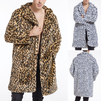 Men Leopard Coat Winter Warm Fashion Outdoor Woolen Faux-fur Collar Overcoat Lapel Casual Mens Jacket Hoodie